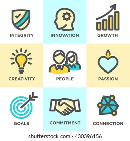 Company Core Values Outline Icons for Websites or Infographics Yellow Blue