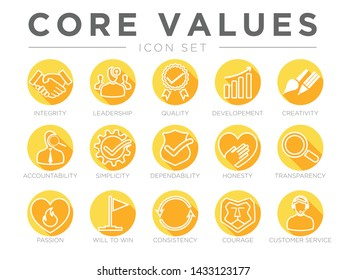 Company Core Values Round Flat Icon Set. Integrity, Leadership,Creativity, Accountability, Simplicity, Dependability, Honesty, Transparency, Passion, Will to win, Consistency, Courage Customer Service