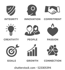 Company Core Values Solid Icons for Websites or Infographics