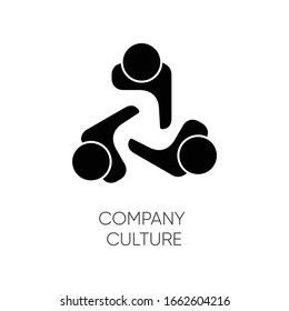 Company culture black glyph icon. Internal corporate ideology, professional business ethics silhouette symbol on white space. Staff togetherness, personnel communication. Vector isolated illustration