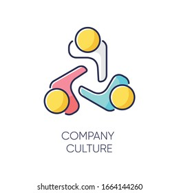 Company culture RGB color icon. Internal corporate ideology, professional business ethics, official office policy. Staff togetherness, personnel communication. Isolated vector illustration