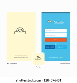 Company Cutter  Splash Screen and Login Page design with Logo template. Mobile Online Business Template