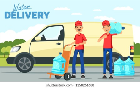 Company for the delivery of drinking clean water. A man with a bottle on the background of the van. Vector illustration
