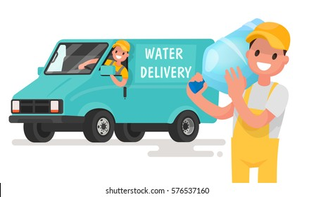 Company for the delivery of drinking clean water. A man with a bottle on the background of the van. Vector illustration in a flat style