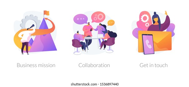 Company development direction, team building exercise, corporate communication icons set. Business mission, collaboration, get in touch metaphors. Vector isolated concept metaphor illustrations