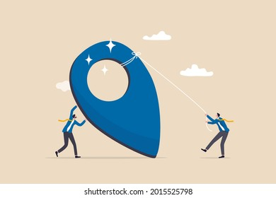 Company establishment, entrepreneurship start new business, create corporate pin in search engine map concept, businessman company founder building office pin making business contact address.