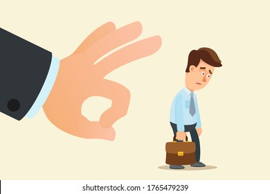 The company fired a young employee. The boss's big hand flicking the dismissed employee. Crisis and unemployment, humiliating dismissal. Business vector illustration, flat cartoon, isolated.