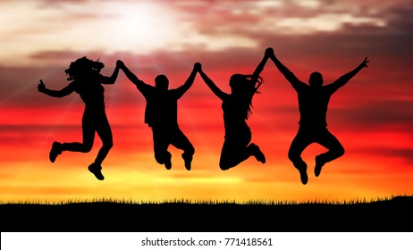 Company of friends, happy people, jumping at sunset silhouette