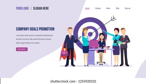Company goals promotion. Internal marketing, success management, achievement of company goals, employee motivation, successful teamwork, career growth. Landing page template. Vector illustration.