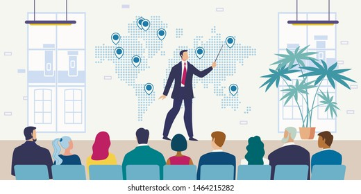 Company Growth Strategy Presentation Flat Vector Concept with Employee or CEO Pointing on World Map with Pins, Presenting International Investment Project, Lecturer Conducting Meeting Illustration