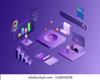 Company growth or success, 3d illustration of different infographic elements, bar chart with financial growth rate, isometric design for Data analysis concept. Can be used for corporate sector.