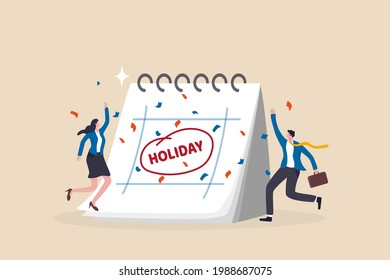 Company holiday for employee to take a break and recharge, employee appreciation day or long holiday happiness concept, business people with big calendar jumping with joy to celebrate long holiday. - Shutterstock ID 1988687075