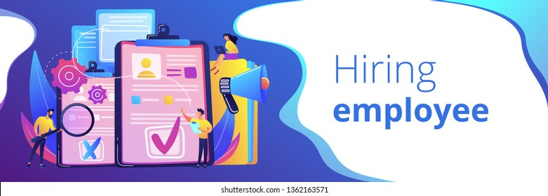 Company hr managers hiring a new employee using resume, magnifier and megaphone. Hiring employee, filling out resume, hiring process concept. Header or footer banner template with copy space.