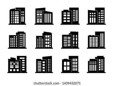 Company icons and black vector buildings set,  Isolated office collection on white background, Line edifice and residential illustration