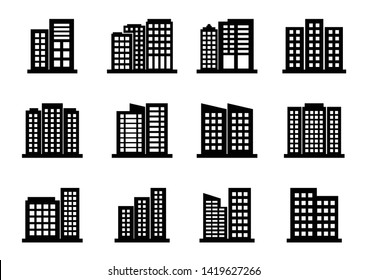 Company icons set on white background, Black building vector collection, Isolated business illustration