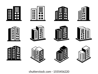 Company icons set on white background, 3D buildings vector collection, Perspective bank and office illustration, Line modern construction and edifice