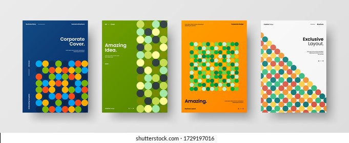 Company identity brochure template collection. Business presentation vector vertical orientation front page mock up set. Corporate report cover abstract geometric illustration design layout bundle.
