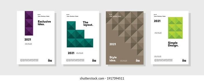 Vorlage für Firmenidentitätsbroschüren Darstellung der Geschäftstätigkeit Vektorgrafik vertikale Ausrichtung Vorderseite Muster up Set. Der Corporate Report deckt das geometrische Design-Layout-Paket ab.