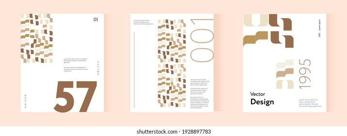 Company identity brochure template collection. Business presentation vector A4 vertical orientation front page mock up set.