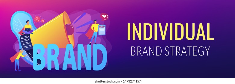 Company identity, marketing and promotional campaign. Personal brand, self-positioning, individual brand strategy, build your personal brand concept. Header or footer banner template with copy space.
