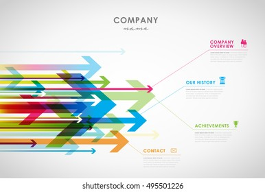 Company infographic overview design template with arrows and icons - light version.