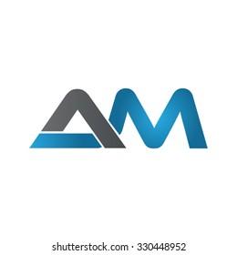 AM company linked letter logo blue
