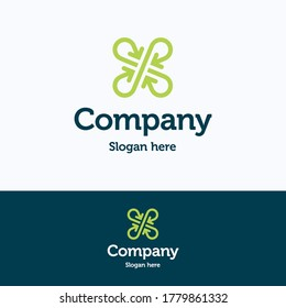 Company logo. Clover arrow logo template. Crossroad group logotype with meeting letter x