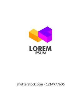 company logo with cube shape, isometric