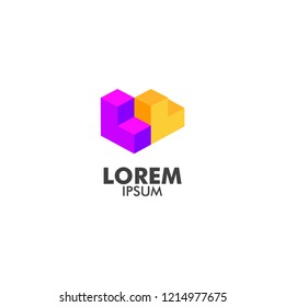 company logo with cube shape, isometric