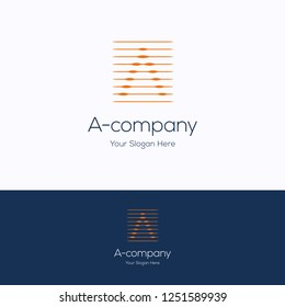 A company logo. Flat line pulse logo template. Square logotype with letter A