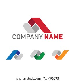 Company logo Set in red, yellow, blue and green with placeholder text template. Resizeable and editable vector format.