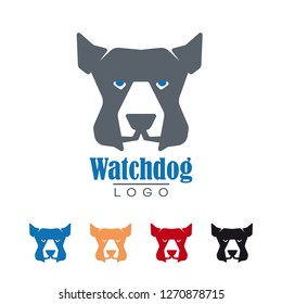 Company logo template with watchdog vector illustration. Protection and security symbol.