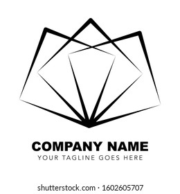 Company logo, three white squares