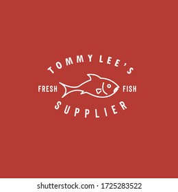 Company logo vector illustration template using line art fish with simple light typography isolated on red background