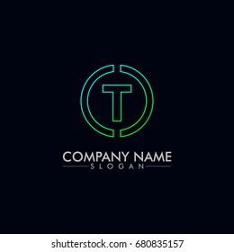company logo vector of the letter T green and blue color