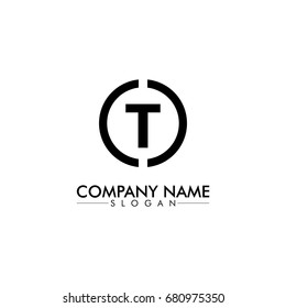 company logo vector of the letter T black color