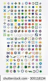 Company logos mega collection, business abstract set of 204 logo designs, vector illustration. Unusual icons - isolated on white background, abstract icon.