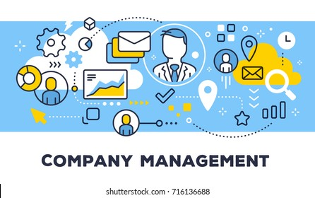 Company management concept on blue background with title. Vector illustration of communication business people, graph and icons. Thin line art flat style design for web, site, banner, presentation