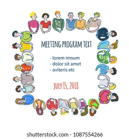 Company meeting presentation background with many people. Vector graphic illustration