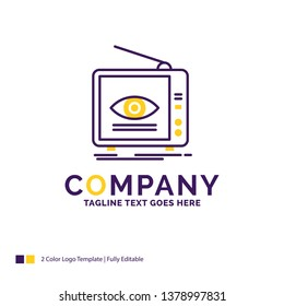 Company Name Logo Design For Ad, broadcast, marketing, television, tv. Purple and yellow Brand Name Design with place for Tagline. Creative Logo template for Small and Large Business.