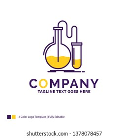 Company Name Logo Design For Analysis, chemistry, flask, research, test. Purple and yellow Brand Name Design with place for Tagline. Creative Logo template for Small and Large Business.