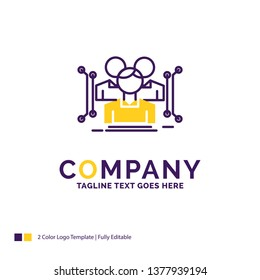 Company Name Logo Design For Anthropometry, body, data, human, public. Purple and yellow Brand Name Design with place for Tagline. Creative Logo template for Small and Large Business.