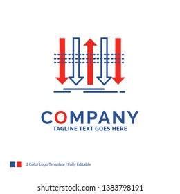 Company Name Logo Design For Arrow, business, distinction, forward, individuality. Blue and red Brand Name Design with place for Tagline. Abstract Creative Logo template for Small and Large Business.