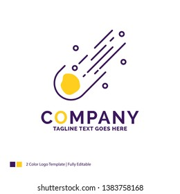 Company Name Logo Design For Asteroid, astronomy, meteor, space, comet. Purple and yellow Brand Name Design with place for Tagline. Creative Logo template for Small and Large Business.