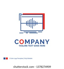 Company Name Logo Design For Audio, frequency, hertz, sequence, wave. Blue and red Brand Name Design with place for Tagline. Abstract Creative Logo template for Small and Large Business.