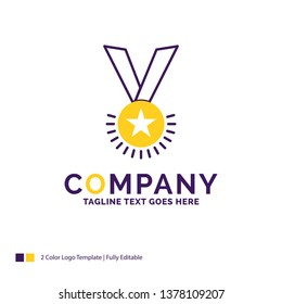 Company Name Logo Design For Award, honor, medal, rank, reputation, ribbon. Purple and yellow Brand Name Design with place for Tagline. Creative Logo template for Small and Large Business.