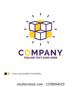 Company Name Logo Design For box, labyrinth, puzzle, solution, cube. Purple and yellow Brand Name Design with place for Tagline. Creative Logo template for Small and Large Business.