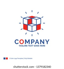 Company Name Logo Design For box, labyrinth, puzzle, solution, cube. Blue and red Brand Name Design with place for Tagline. Abstract Creative Logo template for Small and Large Business.