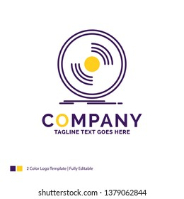 Company Name Logo Design For Disc, dj, phonograph, record, vinyl. Purple and yellow Brand Name Design with place for Tagline. Creative Logo template for Small and Large Business.