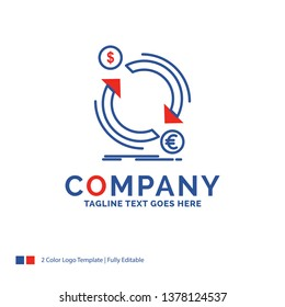 Company Name Logo Design For exchange, currency, finance, money, convert. Blue and red Brand Name Design with place for Tagline. Abstract Creative Logo template for Small and Large Business.